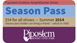 Graphic Courtesy of the West Virginia Department of Commerce.   For the first time, visitors may purchase a Pipestem Resort Summer Amphitheater Series season pass (the attached graphic representation
