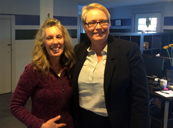 A picture of Janice Grote of the Huntington Yoga and Wellness Studio and Carol L. Schlitt of the Schlitt Law Firm