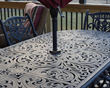 "Simply adjust the Tri-Lock Insert to the size of the table through hole, insert the Tri-Lock into the table, and insert the umbrella, ""That's it""."