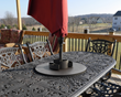 After development began on the Tri-Lock Insert, it was realized that the Insert provided an ideal mounting base for various patio table attachments such as a lazy susan and a condiment utensil caddy.