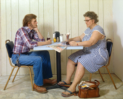 Duane Hanson, Self Portrait with Model, 1979. Polyvinyl chloride, coloured with oil, mixed-technique and accessories, Lifesize. Collection of Duane Hanson Estate