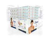 Pistachio Cream Beauty Bar and Body Wash products on a new pallet display for Sam's Club.
