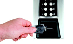 Kaba Sam RF Dual Credential Key with Perimeter Access Control device