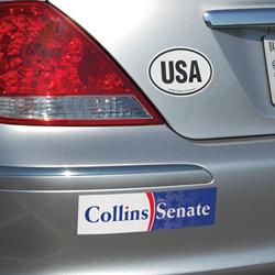 These new bumper stickers are available in a wide variety of shapes, sizes and colors, from one color to full vivid color, and are removable for up to six months.