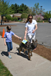 A child takes a blindfold walk with a Fidelco Guide Dog at Fidelco's Open House.