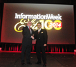 Niraj Jetly (r), NutriSavings SVP CIO/COO, receives award from Rob Preston, VP & Editor in Chief, Information Week