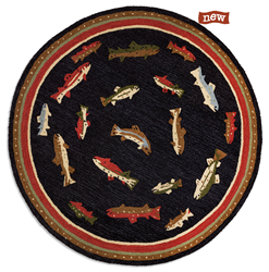 New 5' Round Redesigned Wool Trout Rug