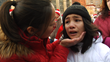Shea Territo is comforted by her mother at an NYC protest.