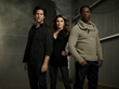 (L-R): Henry Ian Cusick, Paige Turco and Isaiah Washington star in the sci-fi drama series THE 100, airing Wednesdays at 9/8c on The CW.