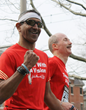 Visually impaired runner and his guide in the Boston Marathon