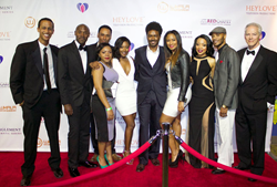 The cast of Entanglement : The Dramatic Series at the red carpet premiere in Atlanta with producers Omar Howard and Diallo M Jeffery