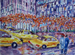 Cabs New York, a watercolor by Nashville-based artist Lucille Femine whose works are featured in an exhibit in Mar 2014 at the Church of Scientology & Celebrity Centre Nashville