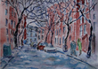 Snow on Jones Street NYC, a watercolor by Nashville-based artist Lucille Femine whose works are featured in an exhibit in Mar 2014 at the Church of Scientology & Celebrity Centre Nashville