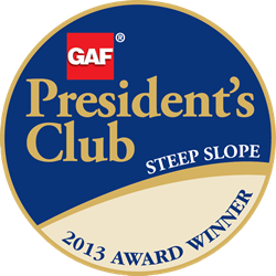 Chandler's Roofing Awarded the 2013 GAF President's Club Award