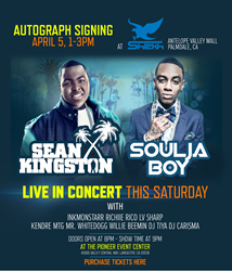 Shiekh Shoes to host meet-and-greet with Sean Kingston and Soulja Boy on Saturday, April 5, at the Antelope Valle Mall in Palmdale, Calif.