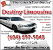 Destiny Limousine LTD Announces Competitive Vancouver Wedding Limo Packages