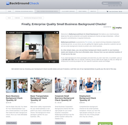 Small business background check products.