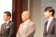 (From L-R) GMO Registry CEO, Hiro Tsukahara, Governor of Tokyo, Yoichi Masuzoe, and GMO Internet Group Founder & CEO Masatoshi Kumagai answer media questions about .tokyo.