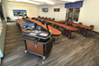 Curved Collaboration Desks in a Curved Classroom Space