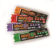 Kratos High Protein Beef Bars in Original, Zesty Pepper, Acai Berry and Ginger & Wasabi recipes.