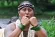 Kumu Hina in Hawaiian warrior hula pose.