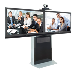 Avteq's ELT-1500L shown here with dual displays and a top-mounted LifeSize videoconferencing camera.