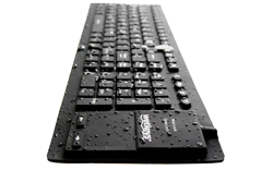 Wet washable keyboard (shown KBWKFC108T) drying after immersed in hospital-grade disinfecting agents or pressure washed with bleach solutions between batches of yogurt, cheese and dairy products.