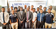 "Howard University Soccer Team with Coach Philip Gyau, Athletics Director Louis ""Skip"" Perkins, and Interim President Wayne A.I. Frederick."