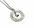 Mother's Day Circle Pendant with Heart Charm Necklace