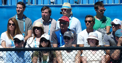 Nick Saviano Tennis Academy in Coaches box in Family Circle cup 2014