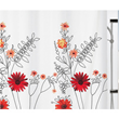 Unique Flower Patterned White Modern Contemporary Cool Shower Curtains