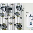 Tropical Fish Designer Contemporary Black And White Shower Curtains