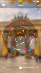 Screenshot of the flirt radar in the German dating app LOVOO