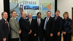 Rob Johnson, Mayor Pro Tem; Jesse Quezada, Sika; Robert A. Meschuk, President, Hyatt Die Cast & Engineering; Leroy Mills, Mayor; Dr. Prakash Narain, Councilmember; Greg Siebert, UnitedHealthCare; Douglas A. Bailey and; Ms. Mariellen Yarc, Councilmembers.