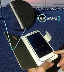 RF Safe cell phone flip case with Peel-n-Shield™ cell phone radiation protection