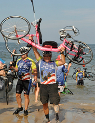 Veteran Bill Czyzewski at the conclusion of the 2012 Sea to Shining Sea cross-country bicycle and hand cycle ride.