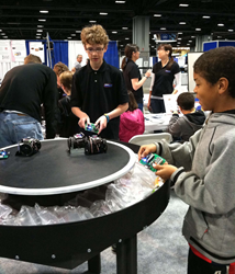 SumoBot robot challenge at Parallax USASEF 2012 booth.