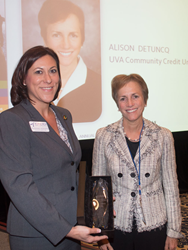 UVA Community Credit Union President and CEO Alison DeTuncq (pictured right) has been awarded the Eugene H. Farley Jr. Award of Excellence, one of the Virginia credit union system's highest honors.