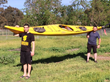 Father and Son Showing One of their Kayaks For Yukon River Adventure To Promote Blind Judo Foundation