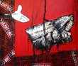 """The Violent One"" by Artist: Kaung Su , 2013  Acrylic, Emulsion, Enamel and Spray on Canvas"