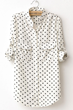 oasap shirt, fashion shirt, polka-dot shirt, long sleeve shirt, print shirt