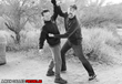 Filmmakers Keith Wilson and Nathan Hill choreographing a fight scene.