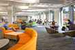 Furnishings at Ely Campus Center were selected in deep oranges, greens and blues to communicate vitality.
