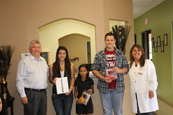 Dr. Mehrnoosh Darj (right) with the last Good Deed contest winners (middle) and Dr. Michael Noe (left)