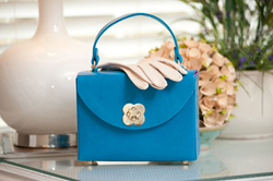 Leather Box Bag in Blue Bonnet