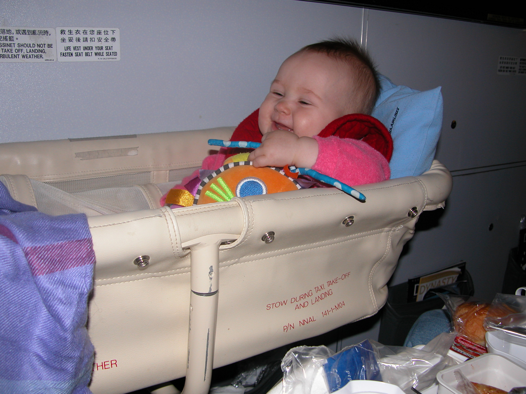 Baby bed airplane - The Author Shelly Rivoli S Daughter Enjoying An Airplane Bassinet During A Flight With China Airlines Baby Rivoli In China Airlines Airplane Bassinet