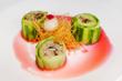 GAONNURI Spring Tasting Menu :: CUCUMBER MUSHROOM SALAD :: Fresh King Oyster, Portobello, Shiitake Mushrooms Wrapped With Sliced Cucumber With Beet Sauce