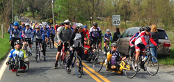 Riders on the 2013 Face of America ride in northern Maryland.