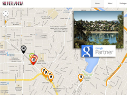 Image shows a view of Silverlandia map with inset photo of Silver Lake region and Google Partner logo.