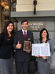 From left to right: Celia Laguillo - Sales Manager, Fabian Michel - Event Coordinator, and Sophie Clauze - Director of Sales all from Westin Palace Hotel.
